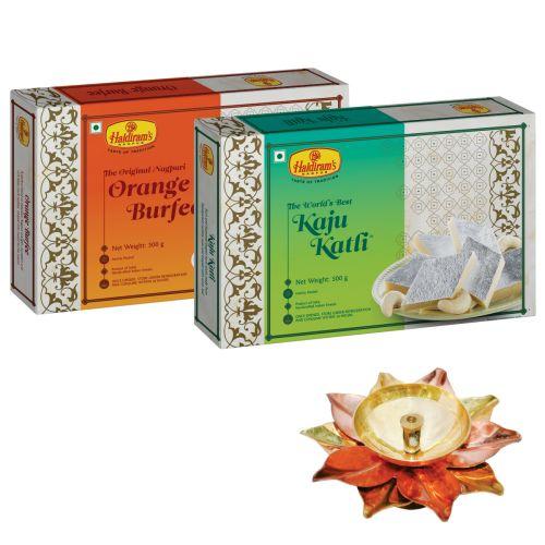 Kaju Katli 500 g and Orange Burfee 500 g with Small Diya