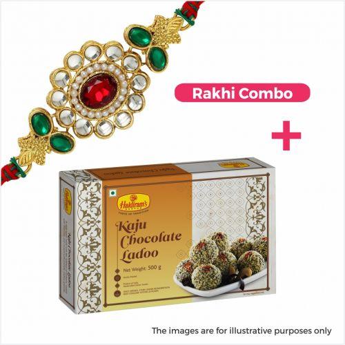 Kaju Chocolate Ladoo Combo + Rakhi