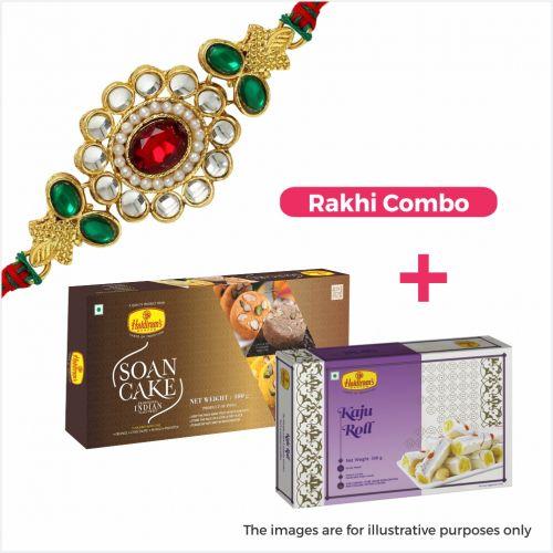 Kaju Roll and Multi Flavour Soan Cake Combo + Rakhi
