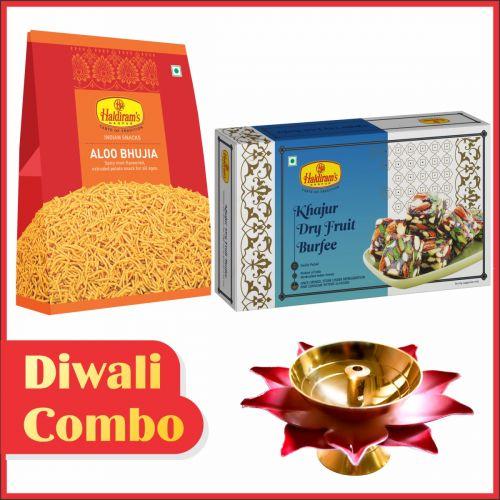 Khajur Dry Fruit Burfee & Aloo Bhujia Combo with Diya (Small)